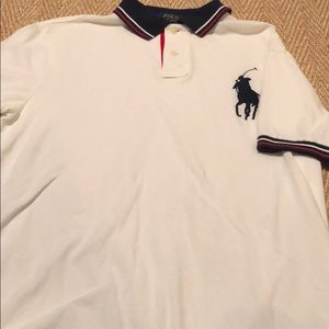 White Ralph Lauren with a large navy Polo.